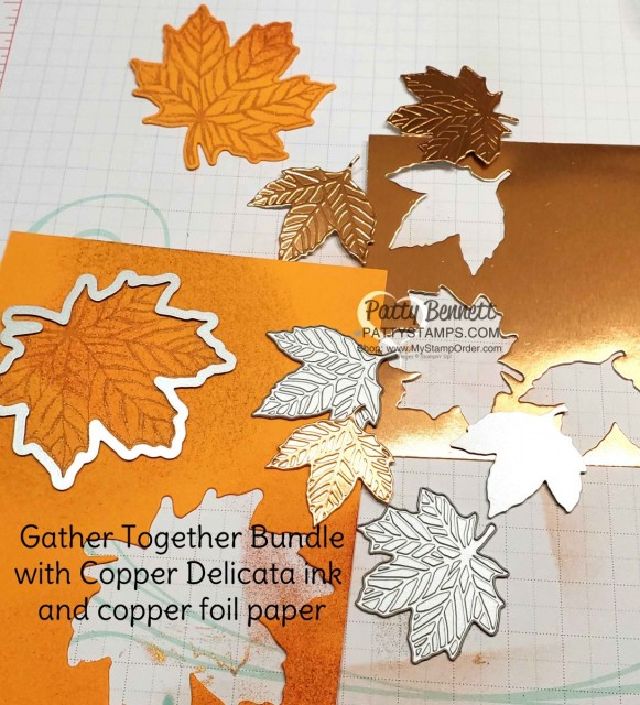 Stampin' Up! Fall idea featuring Gather Together Bundle and Copper Delicata Metallic ink, by Patty Bennett www.PattyStamps.com