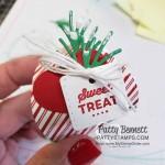 Mini Curvy Keepsakes treat box decorated for Christmas sweet treats. Stampin