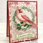 Handmade Christmas card idea featuring the Cardinal Christmas stamp from the Stampin