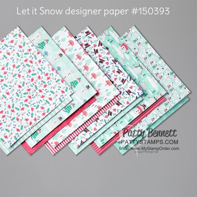 150393 Stampin' Up! Let it Snow designer paper with snowmen! www.PattyStamps.com