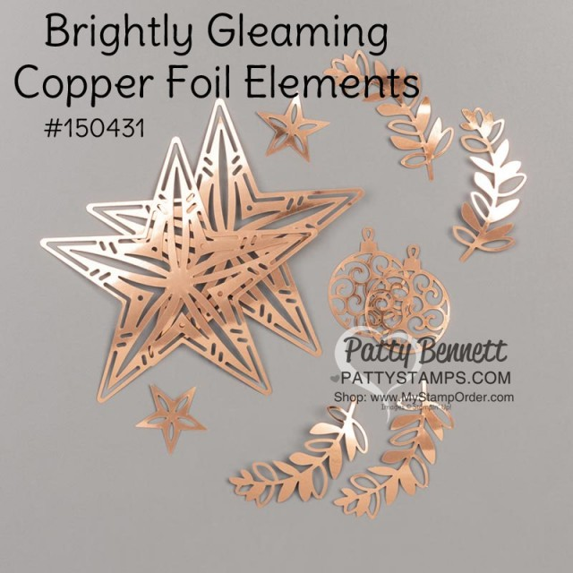 Brightly Gleaming Copper Foil accents from Stampin Up, featuring stars, sprigs and ornaments. Perfect for Christmas papercrafting projects. order online through www.PattyStamps.com