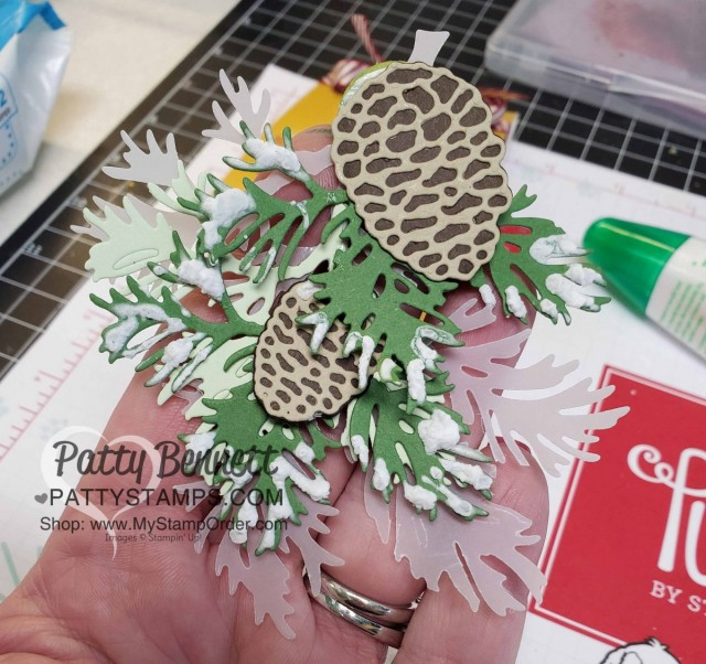 Beautiful Boughs dies from Stampin' Up! - die cut pine boughs and pinecones #150661 with Puff Paint. www.Pattystamps.com