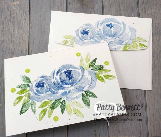 Beautiful Friendship Stampin' Up! flower note card with blue roses and sequins. www.PattyStamps.com