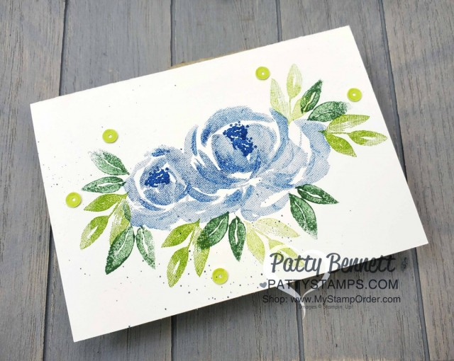 Beautiful Friendship Stampin' Up! flower card with blue roses and sequins. www.PattyStamps.com