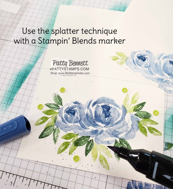 Splatter technique with Stampin Blends for the Beautiful Friendship Stampin Up! flower note card with blue roses and sequins. www.PattyStamps.com