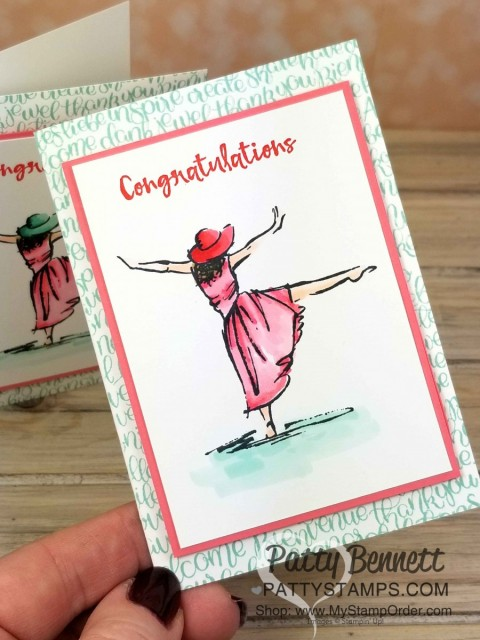 Congrats note card featuring Stampin' UP! Beautiful You set by Patty Bennett www.PattyStamps.com