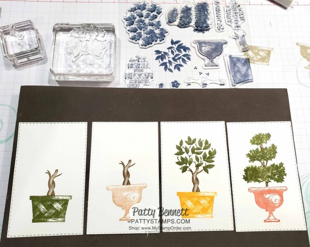 Beauty and Joy Topiary stamp set from Stampin Up, featuring designs for 4 seasons, by Patty Bennett www.PattyStamps.com