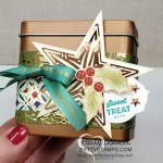 Copper Tin Gift Packaging idea, featuring Stampin Up Brightly Gleaming designer paper and copper foil star. www.PattyStamps.com