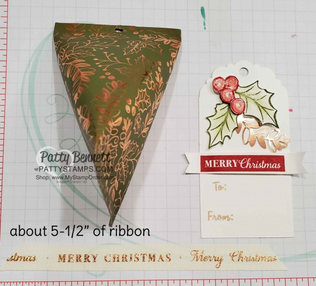Supplies for Sour Cream Twist Christmas Candy treat pouch featuring Stampin' UP! Brightly Gleaming designer paper and Christmas Gleaming stamp set. by Patty Bennett www.PattyStamps.com