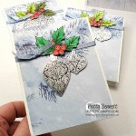Easy Christmas Card Idea featuring Stampin Up Feels like Frost paper, Christmas Gleaming stamp set with punched ornaments on Silver Foil paper and holly colored with Stampin