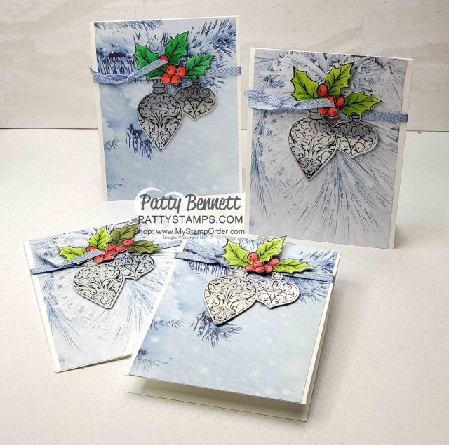 Easy Christmas Card Idea featuring Stampin Up Feels like Frost paper, Christmas Gleaming stamp set with punched ornaments on Silver Foil paper and holly colored with Stampin' Blends by Patty Bennett www.PattyStamps.com