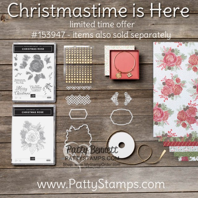 Christmastime is Here limited time suite from Stampin Up - designer paper die cut with Roses die, Christmas Card ideas and more. by Patty Bennett www.PattyStamps.com