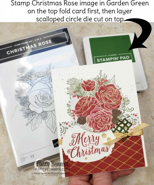 Christmastime is Here suite from Stampin Up - designer paper die cut with Scallop Circle, Christmas Card idea by Patty Bennett www.PattyStamps.com