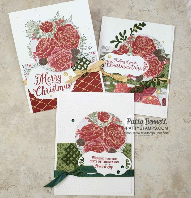 Christmastime is Here suite from Stampin Up - designer paper die cut with Scallop Circle, Christmas Card ideas by Patty Bennett www.PattyStamps.com