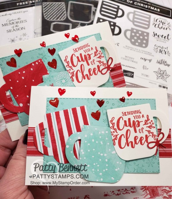 Stampin UP Cup of Christmas bundle Christmas Card Idea featuring Let it Snow designer paper and Epoxy Hearts colored with Stampin' Blends. by Patty Bennett www.PattyStamps.com