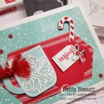 Stampin UP Cup of Cheer bundle Christmas Card Idea featuring Let it Snow designer paper and Stitched Nested Label dies by Patty Bennett www.PattyStamps.com