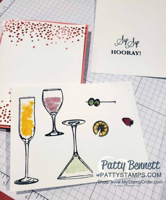Stampin Up Sip Sip Hooray bundle #153045 - cheers to the New Year or celebrate card with wine, champagne and a martini! www.PattyStamps.com