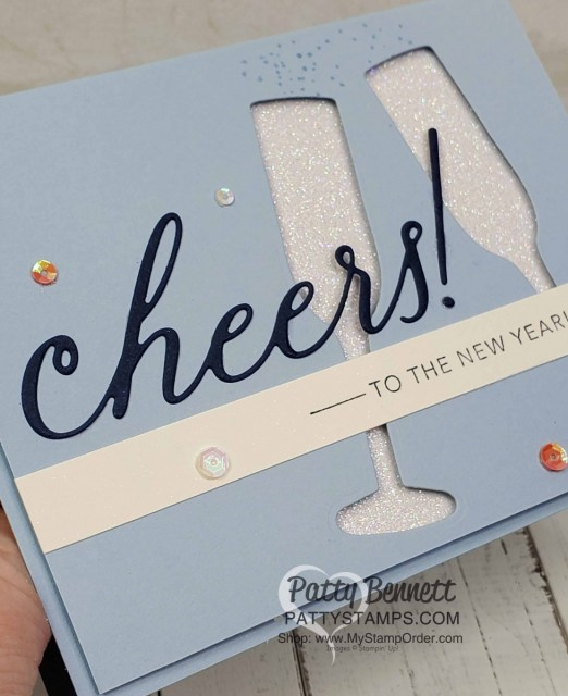 Stampin Up Sip Sip Hooray set and Cheers dies - cheers to the New Year card with Glimmer Paper. www.PattyStamps.com