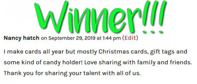 Winner Stampin' UP! Tea Together Blog Candy from PattyStamps! Sept. 2019