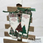 Wrapped in Plaid suite to / from Christmas tag idea featuring Stampin Up tree punch and copper stars, by Patty Bennett www.PattyStamps.com
