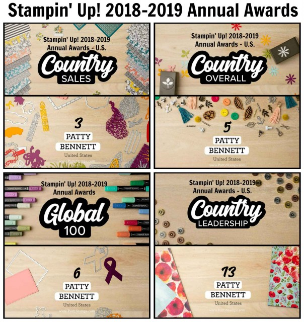 Stampin' UP! Annual Demonstrator Awards 2018-2019 Patty Bennett US and Global awards. www.PattyStamps.com