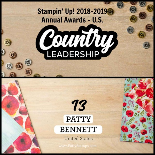 Stampin' UP! Annual Demonstrator Awards 2018-2019 Patty Bennett US Top Leadership Performer, #13! www.PattyStamps.com
