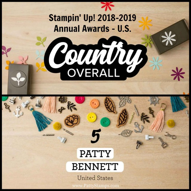 Stampin' UP! Annual Demonstrator Awards 2018-2019 Patty Bennett US Top Overall Performer, #5! www.PattyStamps.com