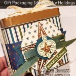 Christmas gift packaging idea featuring Stampin Up Copper Tin, Brightly Gleaming designer paper, Christmas Gleaming ornament punch, and Copper Foil Star embellishments. www.PattyStamps.com