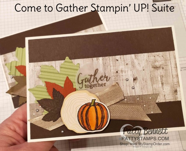 Stampin' UP! Come to Gather Suite Fall Card Idea. Stamped card with Gathered Leaves dies from the 2019 Scrap and Paper Cruise - Caribbean, Symphony of the Seas. www.PattyStamps.com