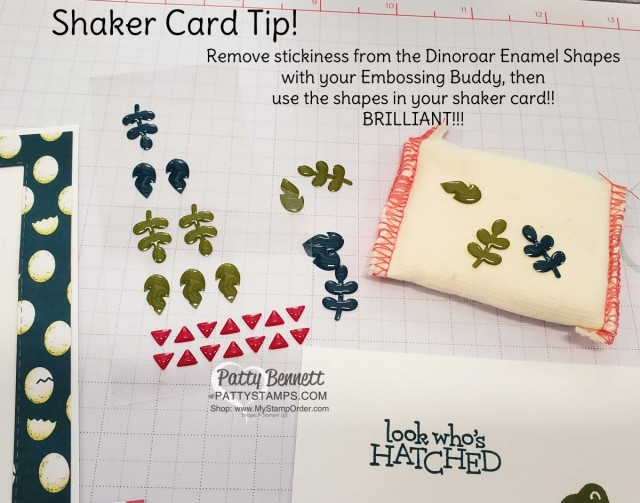 Tip for Dinoroar enamel shapes in a shaker card!! Remove stickiness with an embossing buddy, then use them as shaker bits in your shaker card!! Shaker Card featuring Stampin Up Dino Days stamp set and Dinoroar enamel shapes with sequins! Great baby card or little boy birthday card idea. www.PattyStamps.com