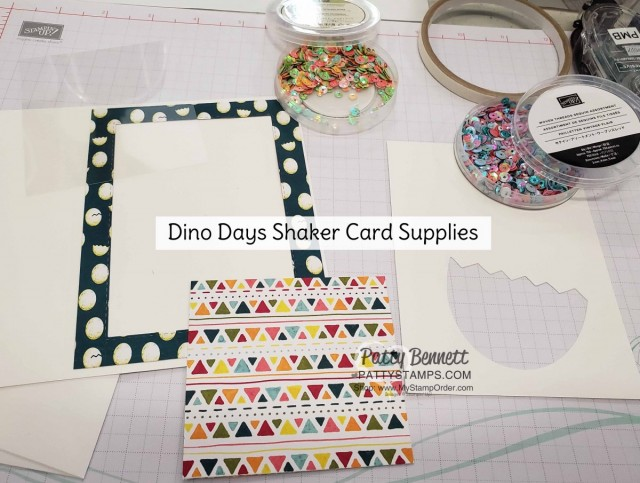 Papercrafting Supplies for: Shaker Card featuring Stampin Up Dino Days stamp set and Dinoroar enamel shapes with sequins! Great baby card or little boy birthday card idea. www.PattyStamps.com