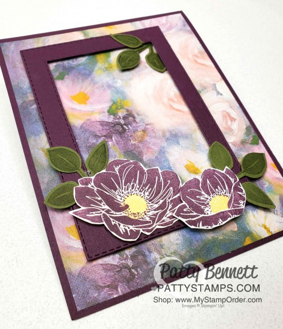 Stampin Up Perennial Essence flowers and Stitched Rectangle die cut card idea featuring Blackberry Bliss. www.pattystamps.com