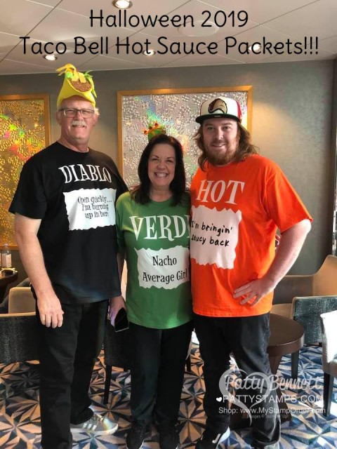 2019 Scrap and Paper Cruise - Caribbean, Symphony of the Seas. Halloween!! Bennett family as the Taco Bell Hot Sauce Packet trio!! www.PattyStamps.com