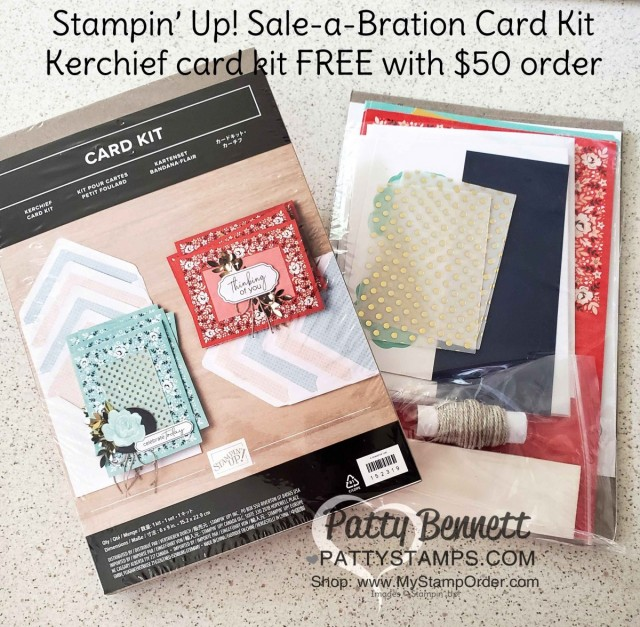 Stampin Up Sale-a-Bration 2020 Kerchief Card Kit - free gift with $50 online order www.MyStampOrder.com Starts Jan 3 while supplies last. Patty Bennett www.PattyStamps.com