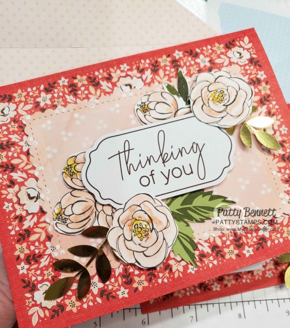 Stampin Up Sale-a-Bration 2020 Kerchief Card Kit - free gift with $50 online order www.MyStampOrder.com Starts Jan 3 while supplies last. Best Dressed designer paper scalloped rectangle die and fussy cut flowers! Card by Patty Bennett www.PattyStamps.com