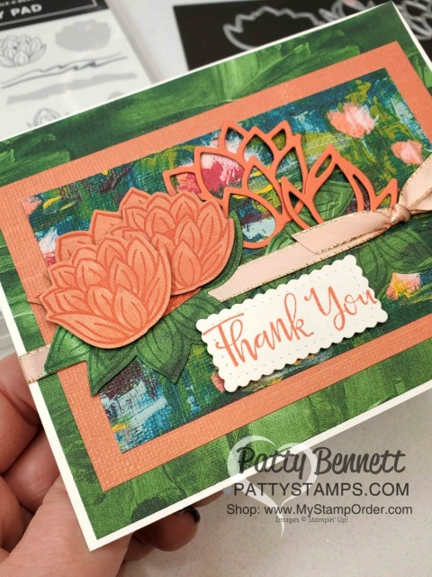 Stampin' UP! Sale-a-Bration 2020 Lily Impressions card idea featuring Lovely Lily Pad stamp set, Lily Pad dies and Lily Impressions designer paper. Free gifts with purchase! www.PattyStamps.com
