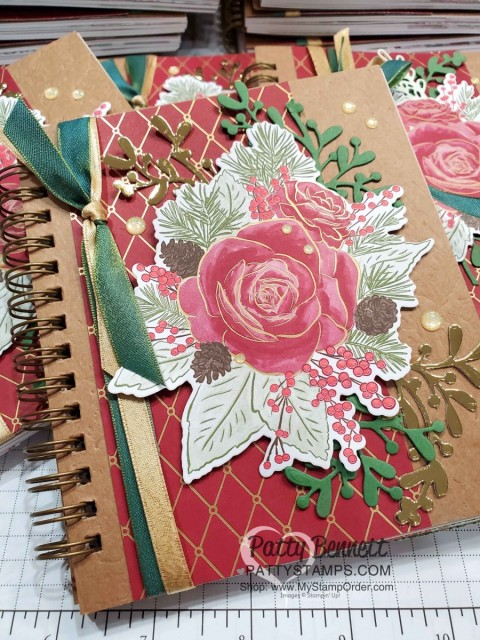 Pressed Petals Gratitude Journal from Stampin Up featuring Christmastime is Here Christmas Rose die cuts and designer paper, by Patty Bennett www.PattyStamps.com