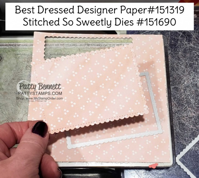 Stampin Up 2020 Stitched So Sweetly scalloped rectangle die and Best Dressed designer paper for card making. www.MyStampOrder.com Patty Bennett www.PattyStamps.com