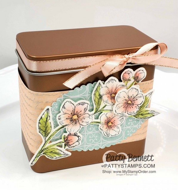 Handmade decorated Copper Tin with Stampin Up Parisian Blossoms suite and Parisian Blossoms designer paper. Cherry Blossom flowers colored with Sponge Daubers! cards by Patty Bennett www.pattystamps.com