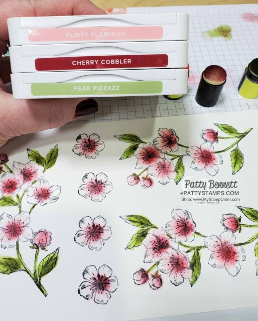 Stampin Up Parisian Blossoms suite and Forever Blossoms cherry blossom stamp, add color with Sponge Daubers! by Patty Bennett www.pattystamps.com
