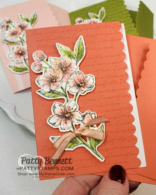 Scalloped Note Cards with Stampin Up Parisian Blossoms suite. Cherry Blossom flowers colored with Sponge Daubers! cards by Patty Bennett www.pattystamps.com