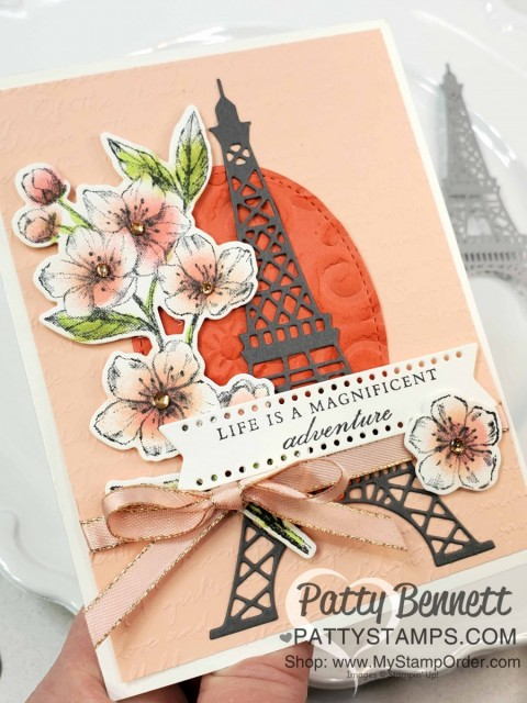 Handmade Cards with Stampin Up Parisian Blossoms suite and Parisian Eiffel Tower die cut. Cherry Blossom flowers colored with Sponge Daubers! cards by Patty Bennett www.pattystamps.com