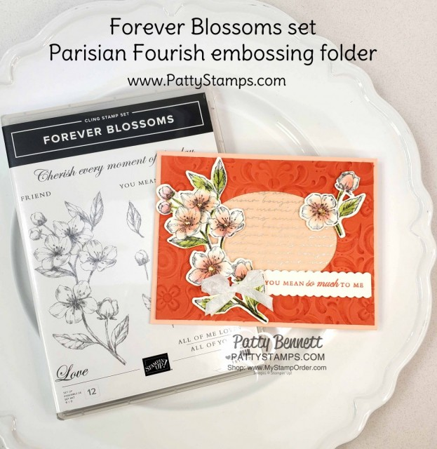 Handmade Card with Stampin Up Parisian Blossoms suite and Parisian Flourish Embossing Folder. Cherry Blossom flowers colored with Sponge Daubers! cards by Patty Bennett www.pattystamps.com