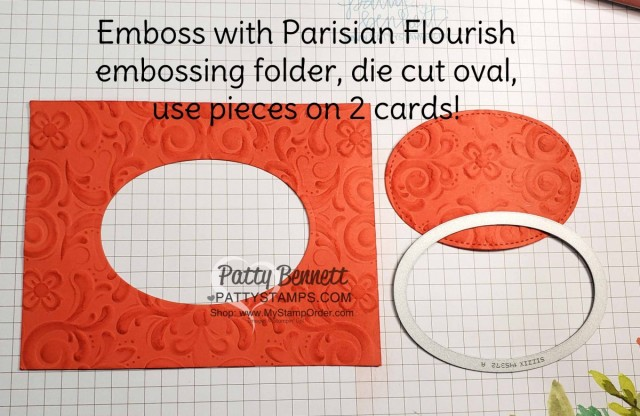 Stampin Up Parisian Blossoms suite and Parisian Flourish Embossing Folder. Add color with Stampin' Sponge! by Patty Bennett www.pattystamps.com