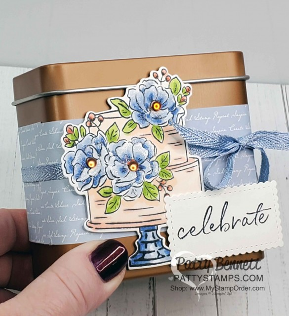 Stampin Up Sale-a-Bration 2020 free stamp set: Happy Birthday to You! Cake and flowers colored with Stampin' Blends markers by Patty Bennett. Copper Tin holds gift cards or any small gifts! www.PattyStamps.com