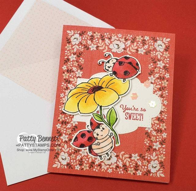 Limited time only: Little Ladybug stamp set (Sale-a-Bration 2020) and coordinating Ladybug dies! Stamped and colored with Stampin Blends markers and paired with Kerchief Card Kit printed card base, by Patty Bennett www.PattyStamps.com