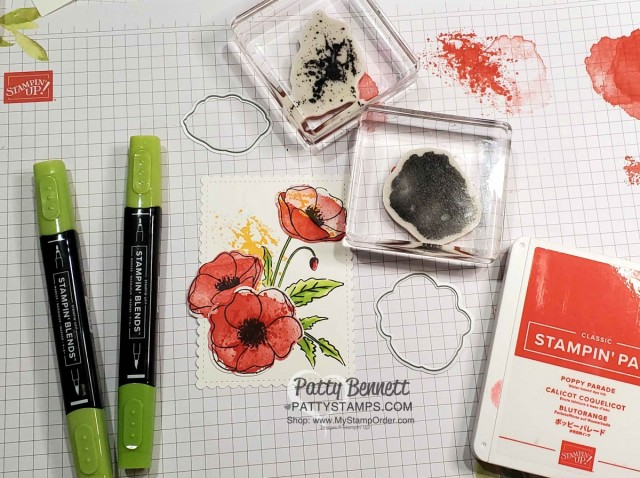 Supplies for Painted Poppies stamp set from Stampin Up. Card idea featuring Stitched so Sweetly scalloped rectangle die and Peaceful Poppies DSP by Patty Bennett www.PattyStamps.com