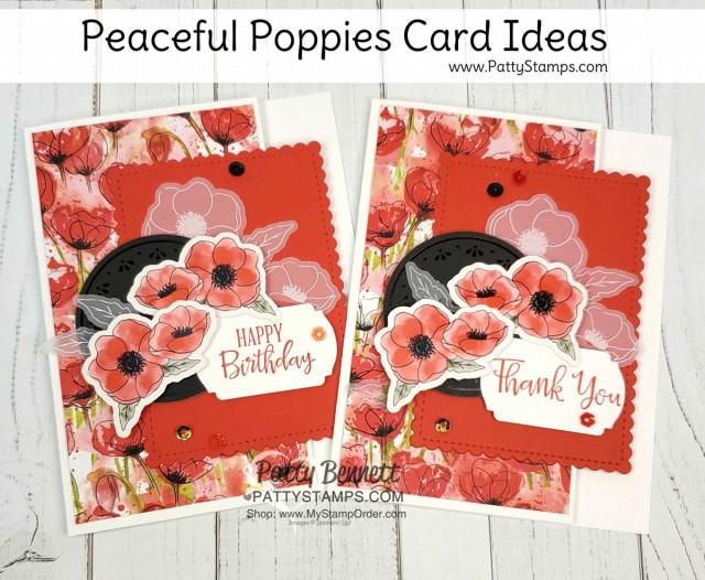 Handmade card idea featuring Stampin Up Peaceful Poppies Elements pack with printed die cut images, vellum, watercolor paper and black elements! by Patty Bennett www.PattyStamps.com