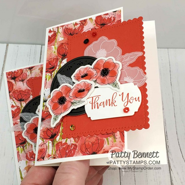 Thank you card idea featuring Stampin Up Peaceful Poppies Elements pack with printed die cut images, vellum, watercolor paper and black elements! by Patty Bennett www.PattyStamps.com