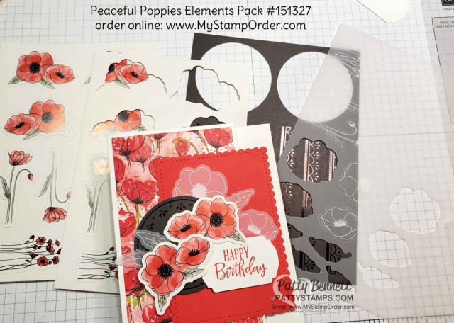Birthday card idea featuring Stampin Up Peaceful Poppies Elements pack with printed die cut images, vellum, watercolor paper and black elements! by Patty Bennett www.PattyStamps.com
